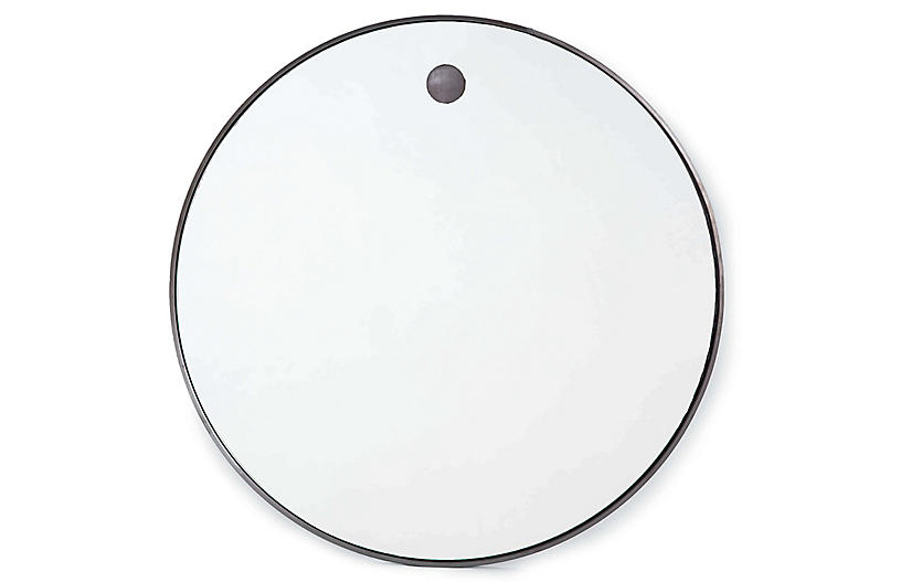 Hanging Circular Wall Mirror, Black