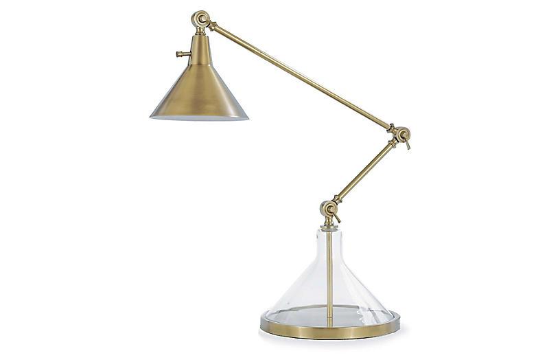Glass Funnel Beaker Table Lamp, Brass