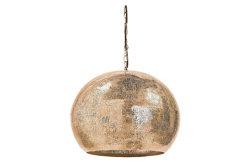 Pierced Sphere Pendant, Natural Brass