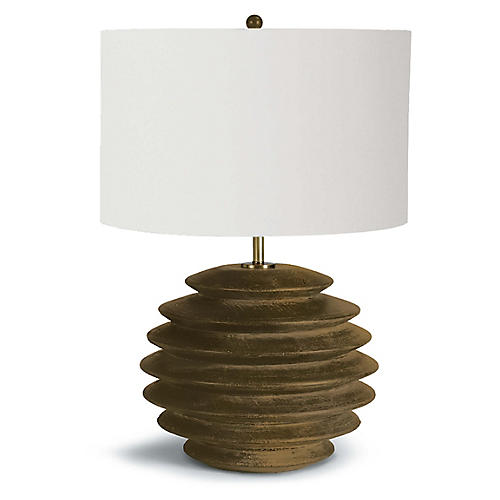 Accordion Table Lamp, Natural Birch