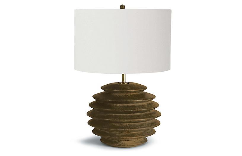 Accordion Table Lamp, Natural Birch