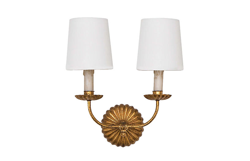 Clove Double Sconce, Antiqued Gold Leaf