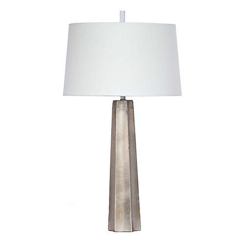 Celine Table Lamp, Ambered Silver Leaf