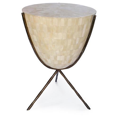 Coco Bone Side Table, Bone/Brass