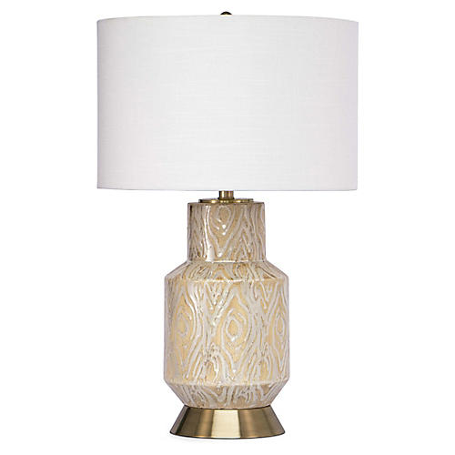 Kendall Ceramic Table Lamp, Coral/Brass