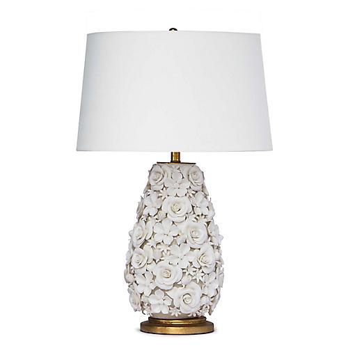 Alice Porcelain Flower Table Lamp, White