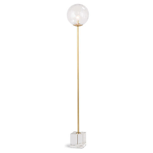 Rio Floor Lamp, Clear/Natural Brass