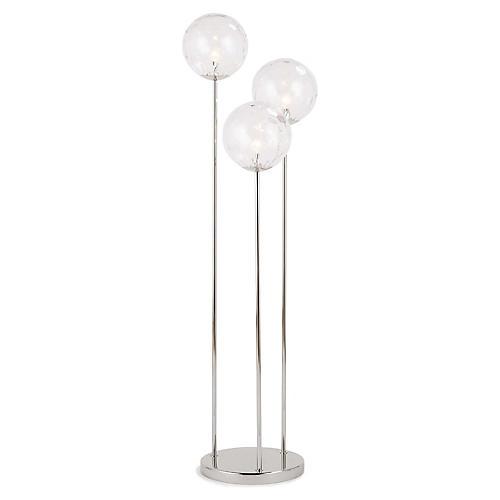 Rio Triple Floor Lamp, Clear/Polished Nickel