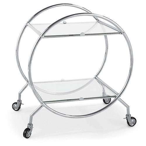 Whiskey Bar Cart, Polished Nickel