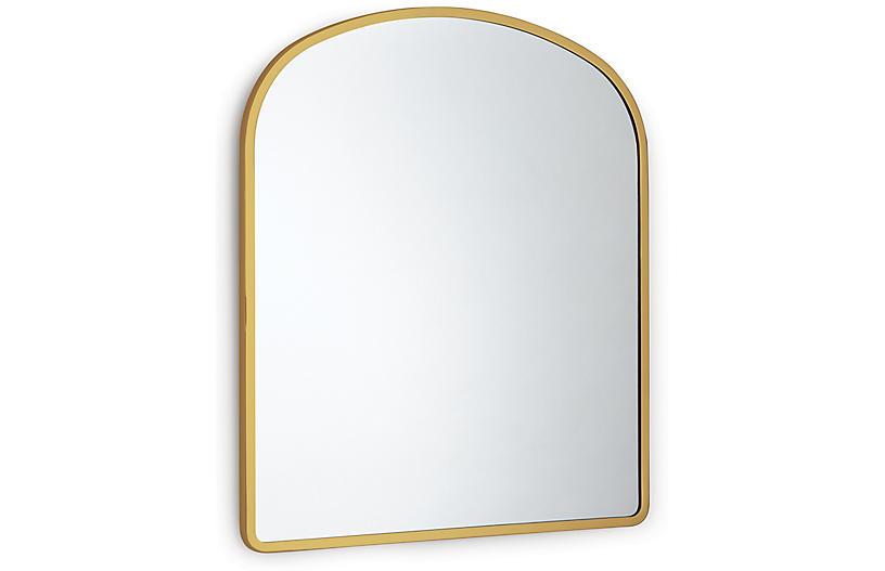Cloak Wall Mirror, Brass