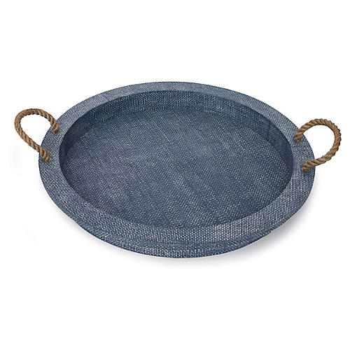 "22"" Aegean Decorative Tray, Indigo"