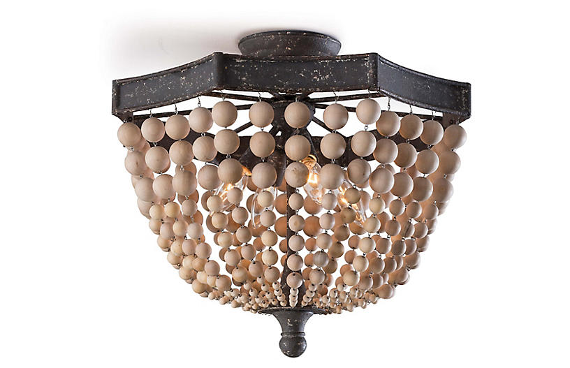 Beaded Wood Flush Mount Brown