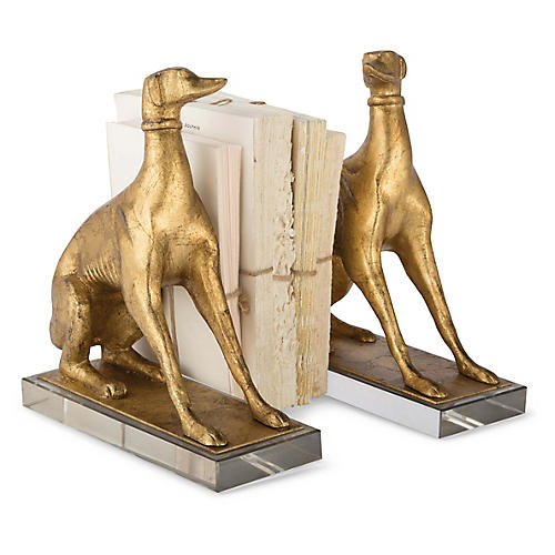 Asst. of 2 Norman Dog Bookends, Gold Leaf