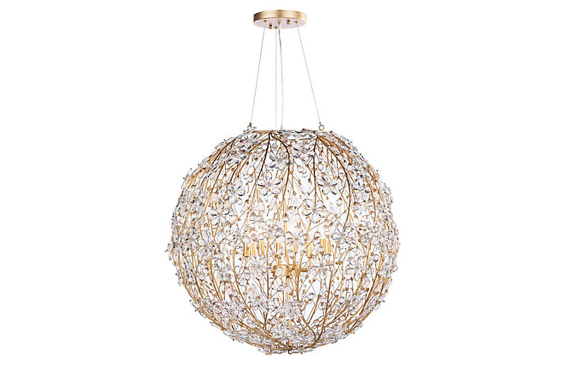 Cheshire Chandelier, Gold Leaf