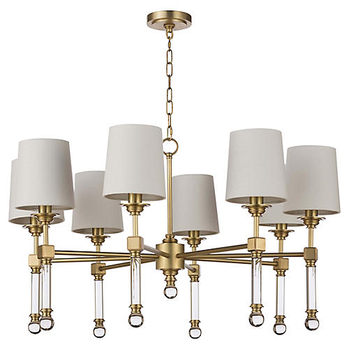 Crystal Tail Chandelier, Brass