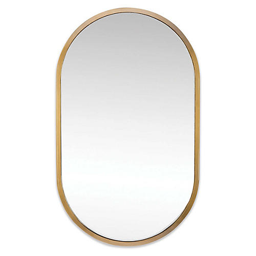 Canal Wall Mirror, Natural Brass