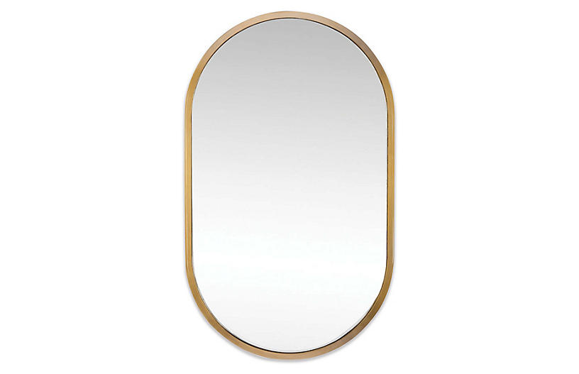 Canal Wall Mirror, Natural Brass