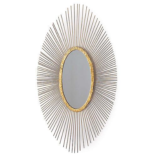 Sedona Oval Wall Mirror, Antiqued Gold Leaf