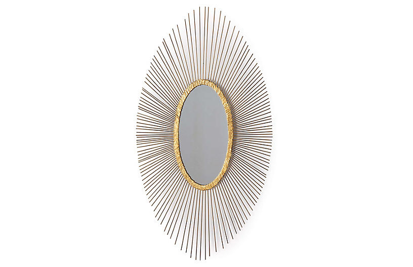 Sedona Oval Wall Mirror, Antiqued Gold Leaf