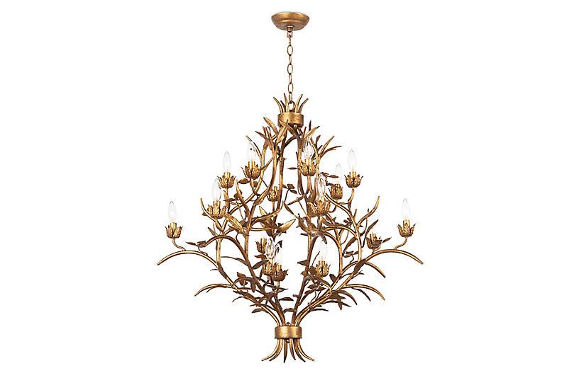 Trillium Chandelier, Brass