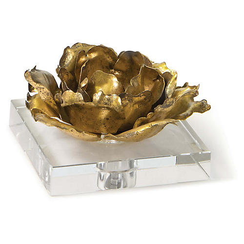 Adeline Flower on Crystal Base, Gold