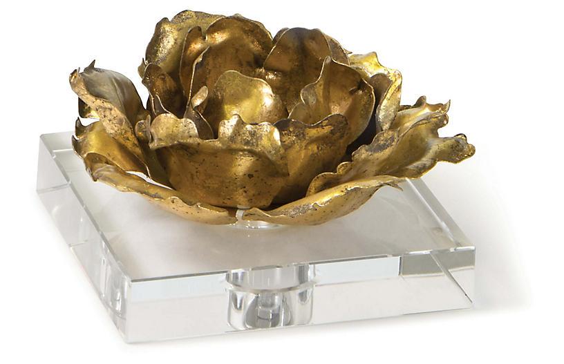 Adeline Flower on Crystal Base, Gold