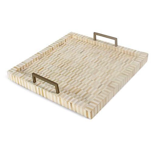 Nevis Tray, Natural/White