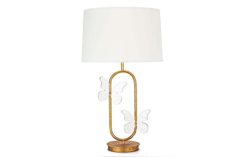 Monarch Oval Table Lamp, Gold Leaf