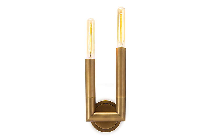 Wolfe Sconce, Natural Brass
