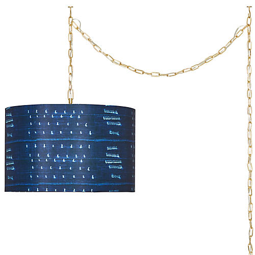 Gemma Swag Pendant, Washed Navy