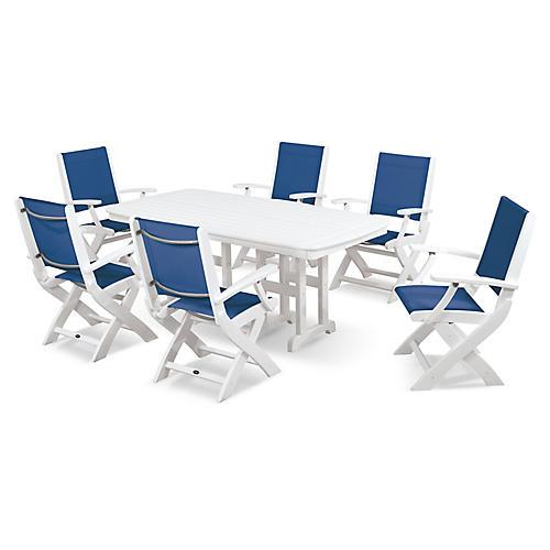 Coastal 7-Pc Dining Set, Royal Blue