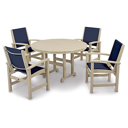 Coastal 5-Pc Round Dining Set, Navy/Sand