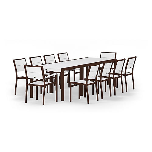 Metro 12-Pc Large Dining Set, White