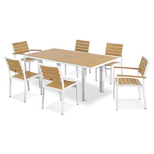 Euro 7-Pc Dining Set, Satin White