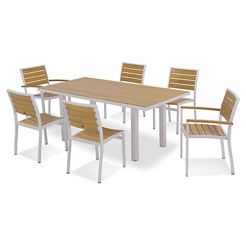 Euro 7-Pc Dining Set, Silver