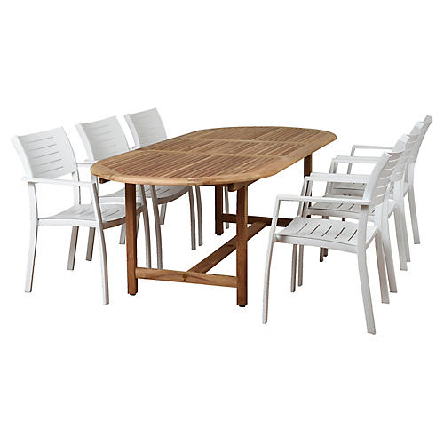 Noordam 7-Pc Dining Set, Natural/White