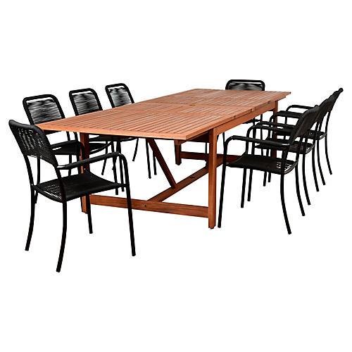 Oosterdam 9-Pc Rectangular Dining Set, Black