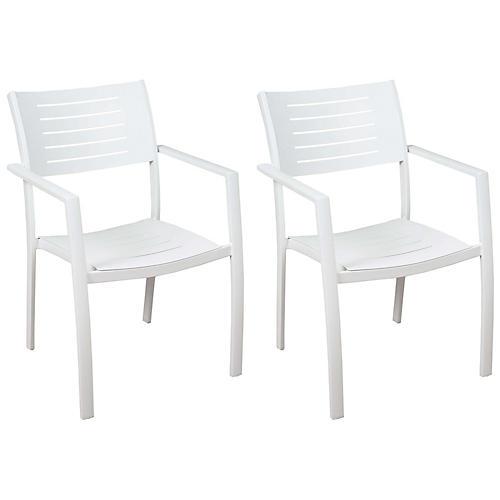 S/4 Noordam Armchairs, White