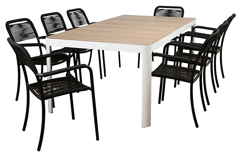 Oosterdam 9-Pc Amazonia Dining Set, Black/Natural