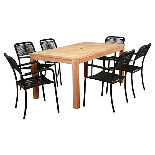 Oosterdam 7-Pc Amazonia Dining Set, Natural/Black
