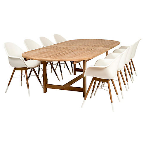 Charlotte 9-Pc Extension Dining Set, Natural/White