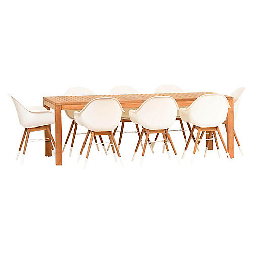 Charlotte 9-Pc Amazonia Dining Set, White/Natural