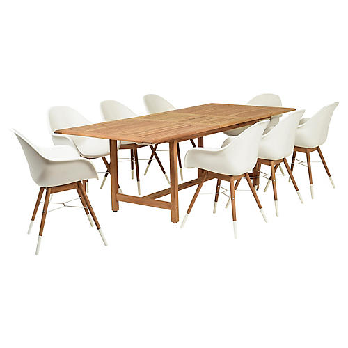 Charlotte 9-Pc Dining Set, White/Natural
