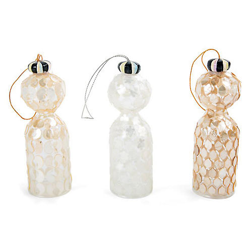 Asst. of 3 Glass Tassel Ornaments, Gold/White