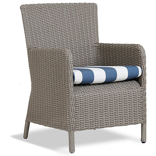 Manhattan Armchair, Blue/White