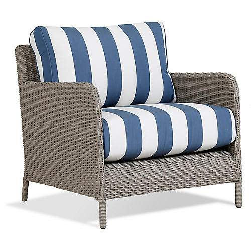 Manhattan Club Chair, Blue/White