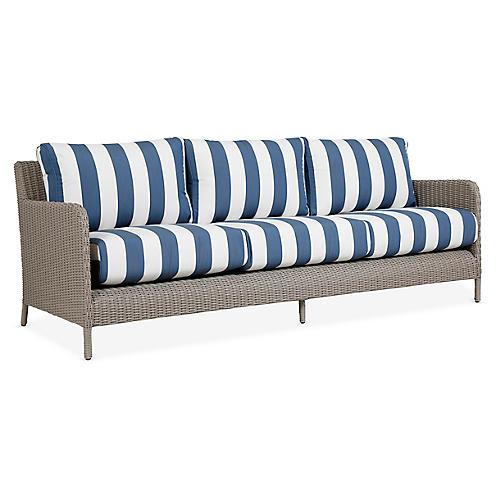 Manhattan Sofa, Blue/White