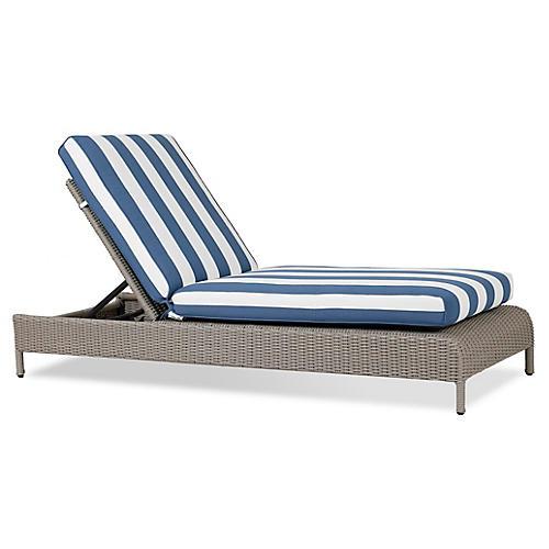 Manhattan Chaise, Blue/White
