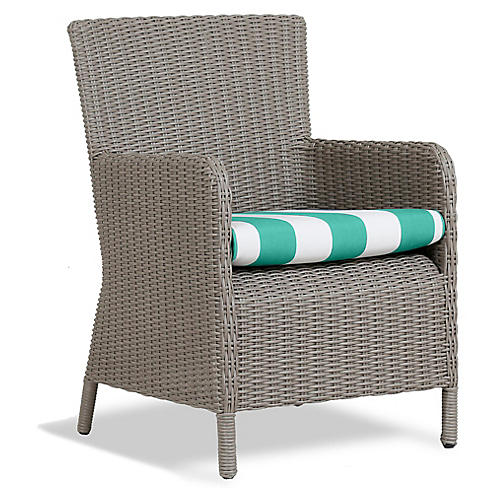 Manhattan Armchair, Turquoise/White