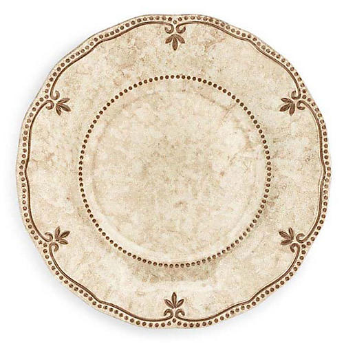 S/4 Rustica Melamine Salad Plates, Bone White